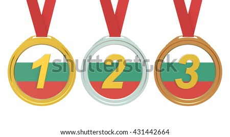 Gold, Silver and Bronze medals with Bulgaria flag, 3D rendering