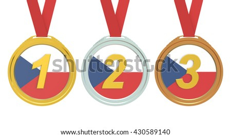 Gold, Silver and Bronze medals with Czech Republic flag, 3D rendering