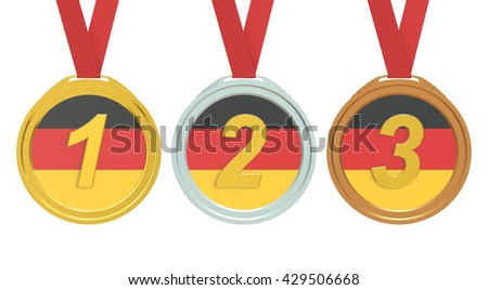 Gold, Silver and Bronze medals with Germany flag, 3D rendering isolated on white background