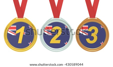 Gold, Silver and Bronze medals with New Zealand flag, 3D rendering isolated on white background