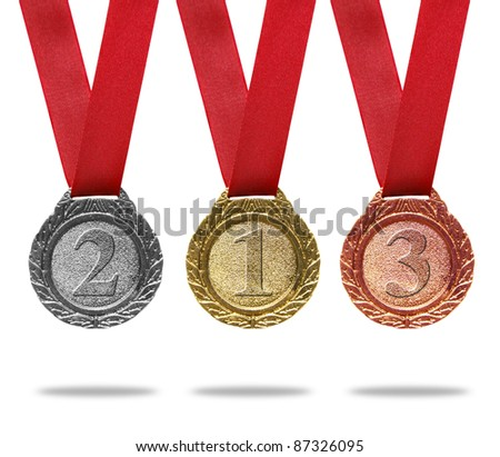 Gold, silver and bronze medals with ribbons(path in side) - stock photo