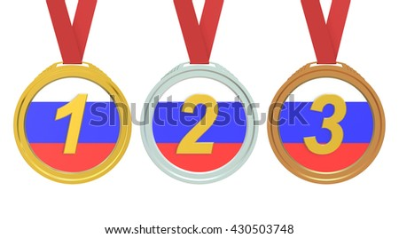 Gold; Silver and Bronze medals with Russian flag; 3D rendering; isolated on white background