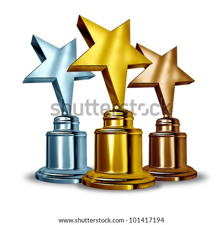 Gold silver and bronze star trophies and trophy award as the best three winners in a competition as a symbol of achievement and entertainment recognition from your peers and success on white. - stock photo