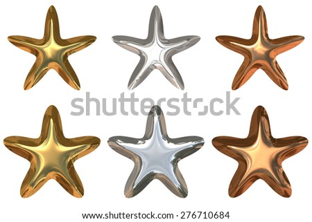 Gold, Silver and Bronze Stars (with clipping path) - stock photo