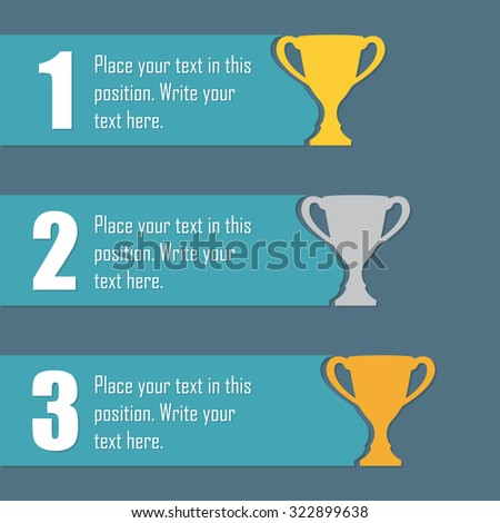 Gold, Silver and Bronze Trophy Cup. First place award. Champions or winners cups icons. Sport Infographic elements with space for text.  - stock photo