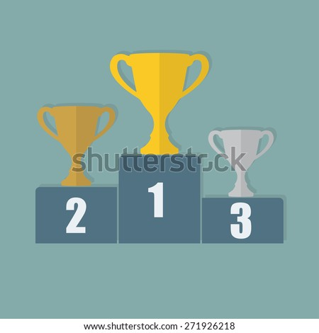 Gold, Silver and Bronze Trophy Cup on prize podium. First place award. Champions or winners Infographic elements.  - stock photo