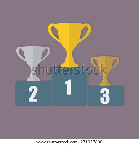 Gold, Silver and Bronze Trophy Cup on prize podium. First place award. Champions or winners Infographics elements.  - stock photo