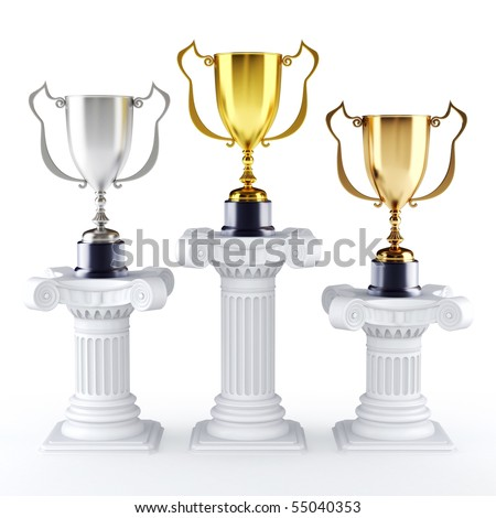 Gold silver and bronze trophy's on a pedestal (3d render) - stock photo