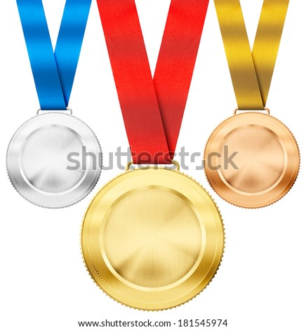 gold, silver, bronze realistic sport medals with ribbon set isolated on white - stock photo