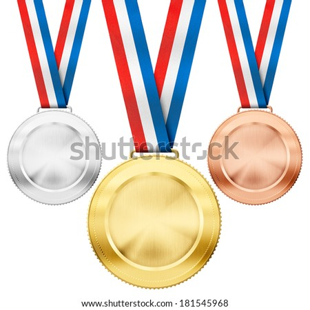 gold, silver, bronze realistic sport medals with tricolor ribbon set isolated on white - stock photo