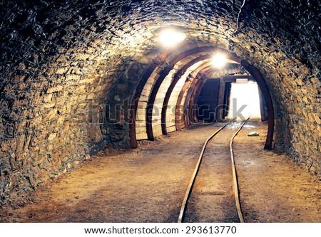 gold, silver, copper mine - stock photo