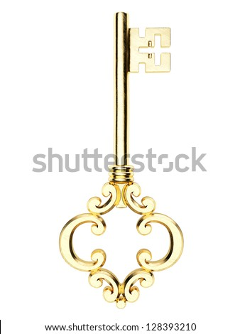 Gold Skeleton Key isolated on white background - stock photo