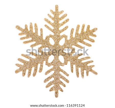 Gold snowflake isolated on white background - stock photo