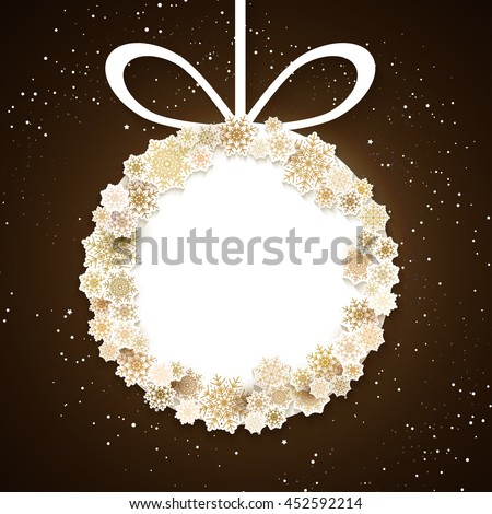 Gold snowflakes, winter background, place for text. Cute Merry Christmas card - stock photo