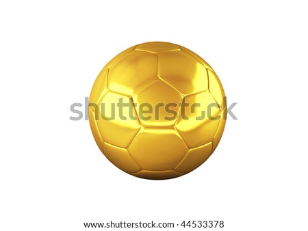 Gold Soccer ball on white background. High resolution 3D image - stock photo