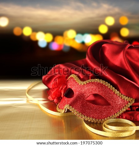 gold space and red mask  - stock photo