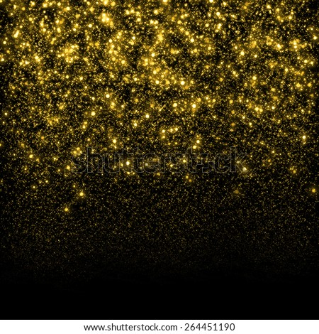 Gold sparkle glitter background. Glitter stars background. Sparkling flow background - stock photo