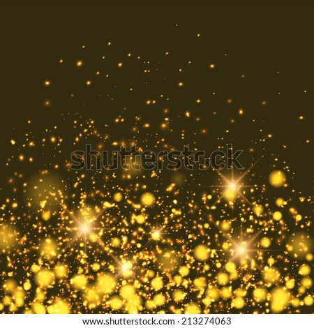 Gold sparkle glitter background. Sparkling flow background.
