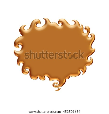 Gold speech bubble on isolated white background.
