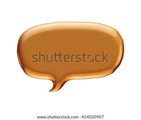 Gold speech bubble rendered in 3d on white background.