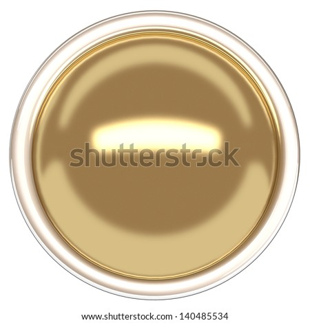 Gold sphere and ring. Gold button. - stock photo