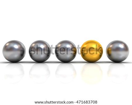 Gold sphere ball among silver sphere balls stand out from the crowd concept isolated on white background with shadow and reflection. 3D rendering.