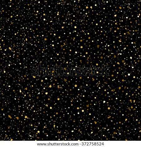 Gold splash or glittering spangles seamless pattern. Hand drawn spray texture. Golden blobs or glitter on black background endless template. Festive, party splatter background.  - stock photo