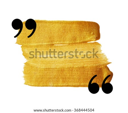 Gold stain quotation mark speech bubble. Empty quote blank citation template. Design element for greeting card, wedding invitation, information, message, motivation. Raster copy of vector file. - stock photo