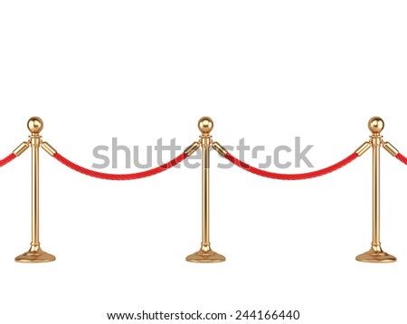 gold stanchions with rope isolated on  white background - stock photo