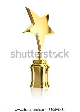 gold star award on stand isolated on a white background - stock photo
