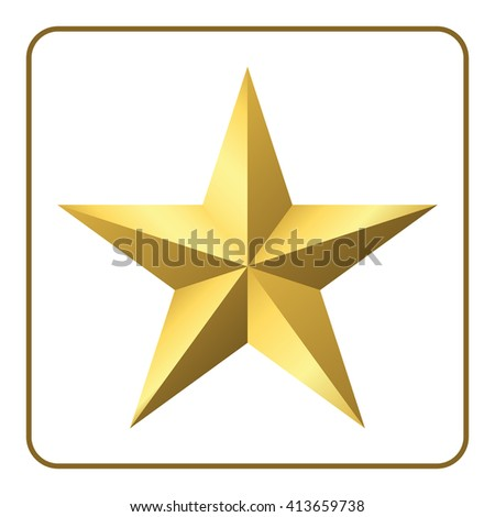 Gold star icon. Pentagonal sign with gradient. Elegant symbol of achievements and victories. Design element for your logo, Product quality rating, etc isolated on white background. illustration - stock photo