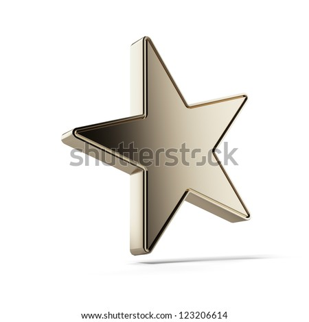 Gold star isolated on a white background - stock photo