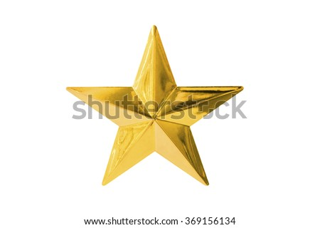 Gold star isolated on white - stock photo