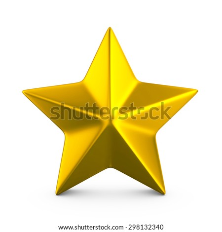 Gold star on a white background.  - stock photo