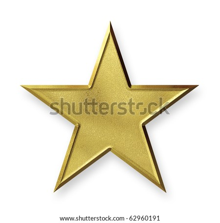 Gold star with texture mapping - stock photo