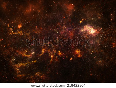 Gold Starfield - Elements of this Image Furnished By NASA - stock photo