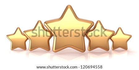 Gold stars five golden star service award business success decoration abstract. Best top quality rating excellent favorite favorite winner concept. Detailed 3d render. Isolated on white background - stock photo