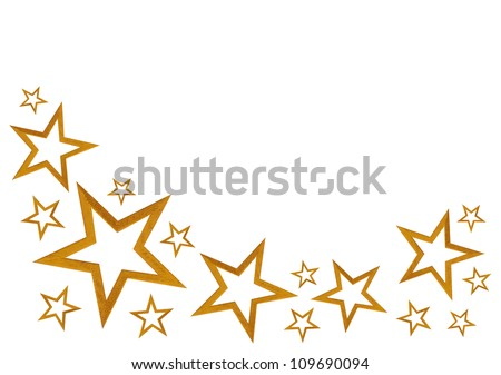 Gold stars isolated on white background with room for your text - stock photo
