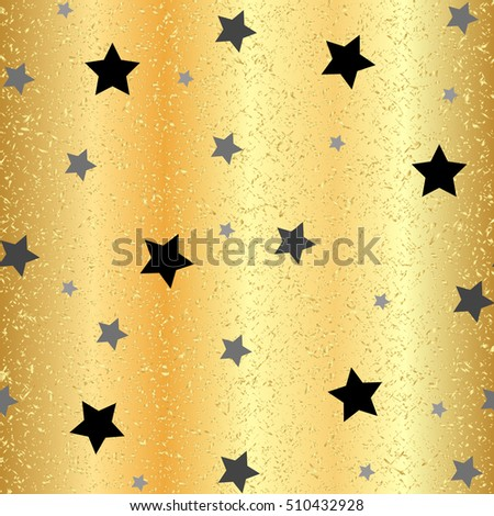 Gold Stars Seamless Pattern. The gold vector image. gold Starry night sky. Rasterized copy.