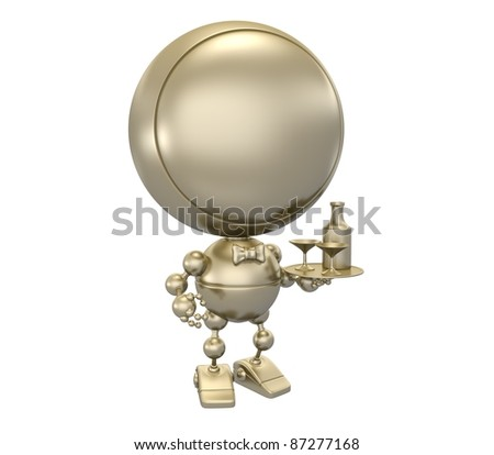 Gold statuette of  waiter with vine - stock photo
