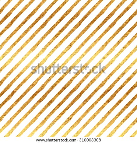 Gold Stripes Faux Foil Metallic White Background Striped Pattern Texture - stock photo
