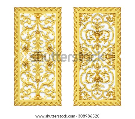 Gold Stucco walls antique flower background