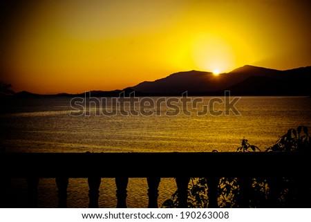 Gold sunset above the sea on Samui island  - stock photo