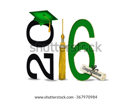 gold tassel with green cap for graduation 2016 isolated on white - stock photo