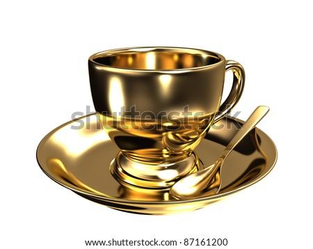 Gold teacup - stock photo