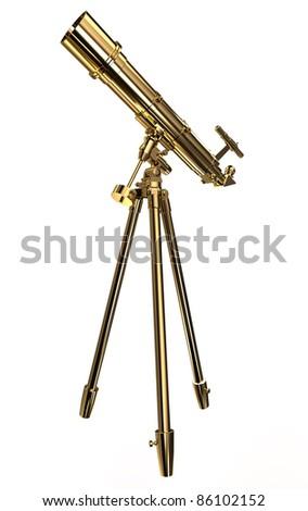Gold telescope - stock photo