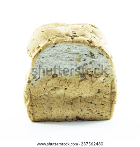 Gold texture on whole wheat bread on white background