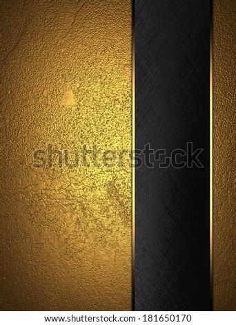 Gold texture with black nameplate. Design template. Design site - stock photo