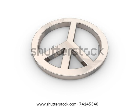 gold-tinted peace symbol over white - stock photo