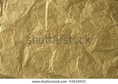 Gold Tissue Paper Wrinkled - stock photo
